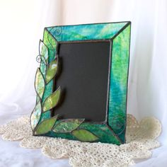 Stained Glass Picture Frame green leaf photo frame by Glasserie