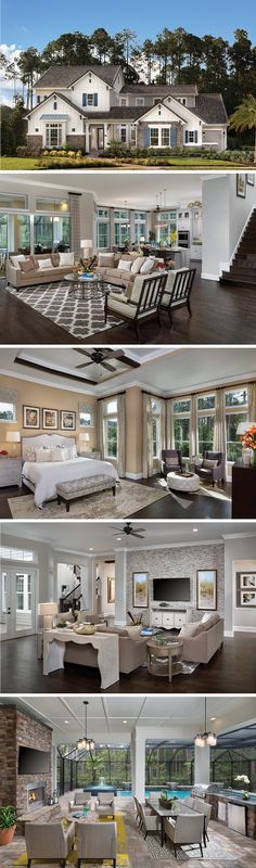 The La Rocque by David Weekley Homes in Island at Twenty Mile is a luxurious home that includes a breakfast nook, a sunroom, a Lanai and an owners retreat with beautiful ceiling beams. Custom home upgrades include a fireplace in the private courtyard, a sliding glass door that leads to the backyard and a freestanding tub in the owners bathroom.