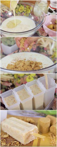 Picolé de Paçoquinha de 3 INGREDIENTES feito em 2 minutos ! #picole #picolefacil #picolebarato #picolerapido #sorvete #sorvetes