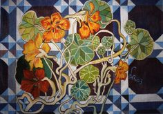 Nasturtium - Hand Woven Wall Hanging Tapestry by Stanislaw Wyspianski Woven Wall Hanging, Tapestry Wall Hanging, Mixed Media Art, Wearable Art, Color Patterns, Stained Glass, Art Nouveau, Hand Weaving, Abstract Art