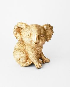 Baby Koala, Australia, Gold Animal Statue, Koala Statue, Nursery Decor, Animal Figurine, Animal Statue, Australian Animal, Animal Decor, by hodihomedecor on Etsy