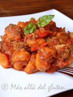 Más allá del gluten...: Ñoquis de Calabaza (Ahuyama) con Salsa de Verduras (Receta GFCFSF, Vegana)