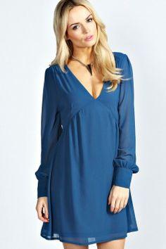 e9a60834e66 Aerial Long Sleeve V Front Smock Dress - Robes - Vêtements Femme Destockage  Vetement