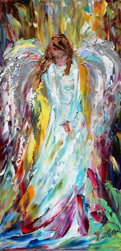 Original oil painting Whimsical ANGEL by Karensfineart
