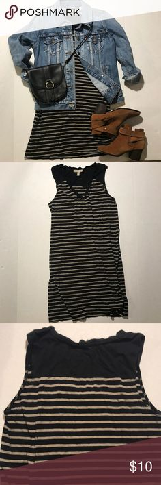 Banana Republic Mini Dress Simply chic striped sleeveless mini dress or long tunic with beige/taupe and black stripes. Gently worn but still in good condition. Cotton/modal blend reduces shrinking. If you follow the label washing directions, the dress should not shrink.  . Everything in this pic is for sale in my closet. Inquire below for details! 😊 Banana Republic Dresses Mini