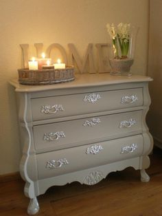 """Pretty dresser and wooden """"Home"""" letters. Home Living Room, Furniture, Home, Interior, Home Diy, Home Deco, Painted Furniture, Home Decor, Refinishing Furniture"""