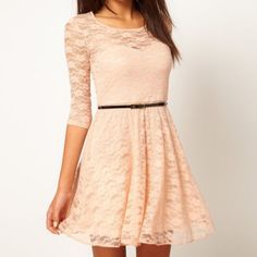 Peach dress with lace sleeves