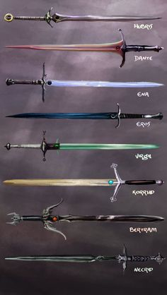Video game swords are those which are featured in video games. There are so many things that are qui Ninja Weapons, Anime Weapons, Weapons Guns, Swords And Daggers, Knives And Swords, Armes Concept, Espada Anime, Video Game Swords, Magia Elemental