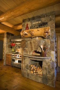 pizza oven and extra warmth for the mountain log cabin.
