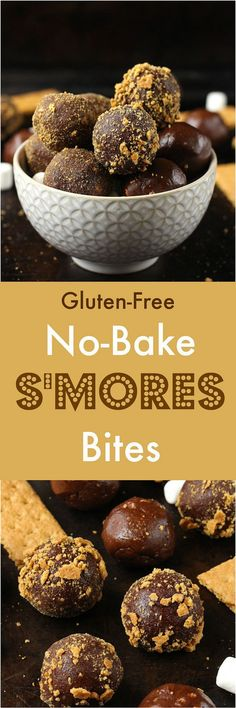 No-Bake S'mores Bites [Gluten-Free] - These fudgy No-Bake S'mores Bites are packed with marshmallows, chocolate and gluten-free graham crackers for the perfect s'more bite!