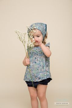 Hannah top, Cecile bloomers in romantic floral and blue schiffli