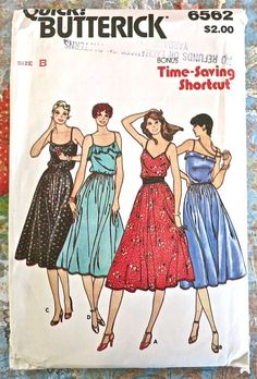 Butterick 6562  Vintage 1980s Womens Flared Dress by Fragolina