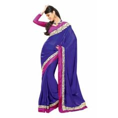 EXOTIC BLUE CREPE SAREE Shop This - http://www.valehri.com/exotic-blue-crepe-saree