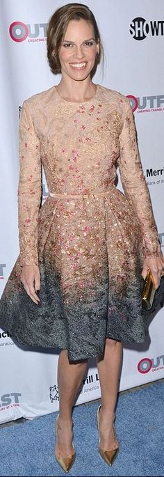 Who made Hilary Swank's pink ombre dress?