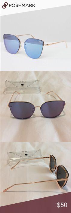 Quay Australia Lexi mirrored cat eye Sunglasses Quay Australia Lexi sunglasses. Gold frames with purple mirrored lenses. Come with clear plastic case. Brand new, never worn. Quay Australia Accessories Sunglasses