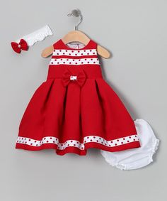 {Red Polka Dot Bow Dress Set} Love the bold color!