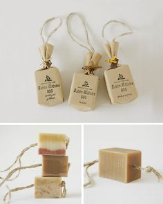 soap on a rope - hole in the middle of the soap and put a rope all the way through and tie on bottom - knot holds it in place substitute brown paper bags