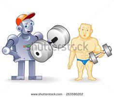 Two Funny Sportsmen: Human Bodybuilder vs Strong Droid
