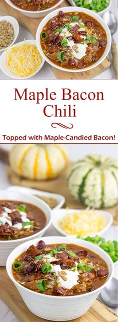 This Maple Bacon Chili is topped with maple candied bacon for an extra special layer of flavor! It's the perfect meal for a chilly (no-pun intended) Autumn evening! Chili Recipes, New Recipes, Dinner Recipes, Favorite Recipes, Amazing Recipes, Delicious Recipes, Easy Recipes, Dinner Ideas, Candied Bacon