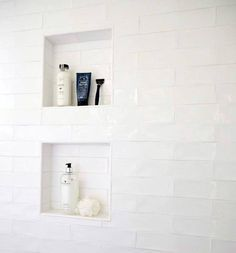 Unique Shower White Tile Niche Designs From herringbone tile to marble slabs and beyond, discover the top 70 best shower niche ideas. Explore recessed shelf designs for soaps and shampoos. Tile Shower Shelf, Recessed Shower Shelf, Shower Alcove, White Tile Shower, Recessed Shelves, Bathroom Niche, Shower Over Bath, Shower Tub, Bathroom Interior