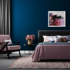 Blue bedroom decor, blush bedroom, paint colors for living room, bedroom . Blue Bedroom Decor, Home Bedroom, Bedroom Ideas, Master Bedrooms, Blue And Pink Bedroom, Navy Blue Bedrooms, Pink Blue, Bedroom Designs, Turquoise Bedroom Paint