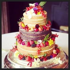naked wedding cake by Daisy Cakes, decorated with greens of devon edible flowers - Vegan Wedding Cake Daisy Cakes, Vegan Wedding Cake, Wedding Cakes, Edible Flowers Cake, Vegetable Protein, Vegetarian Breakfast, Pastel, Creative Cakes, Plant Based Recipes