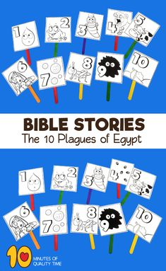 Ten plagues on Egypt Exodus story craft. Perfect for Passover. Sunday School Crafts For Kids, Bible School Crafts, Bible Crafts For Kids, Preschool Bible, Bible Activities, Craft Kids, Moses Plagues, Plagues Of Egypt, 10 Plagues