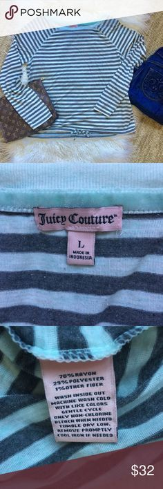 "Juicy Couture light green-gray sparkly stripe top Cute light material long sleeve top.  Light green and gray stripes and a bit of sparkle for fun.  Tied at the bottom - little JC tag on the side. Super cute top.  Size large.  Approximate measurements 20"" armpit to armpit, 22"" length. Juicy Couture Tops Tees - Long Sleeve"