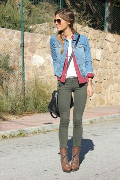 A clever way to wear denim on denim without going overboard!  Olive jeans with a blue denim jacket.