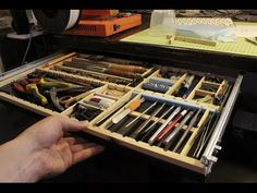 Drawer Organizing Tips That Keep The Mess At Bay. 2 010 Pc Fasteners In Metal Cabinet Drawers Olympia . Show Me Your Tool Storage. Home Design Ideas Tool Drawers, Desk With Drawers, Desk Organization Diy, Diy Desk, Under Desk Storage, Tool Storage, Ikea Small Spaces, Tiny Spaces, Hobby Desk