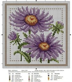 Selection of embroidery of beautiful flowers Cross Stitch Freebies, Cross Stitch Cards, Cross Stitch Flowers, Counted Cross Stitch Patterns, Cross Stitch Designs, Cross Stitching, Cross Stitch Embroidery, Broderie Simple, Stitch Cartoon