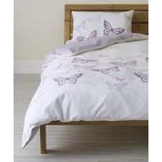 Wilko Butterfly Print Duvet Set Purple Single
