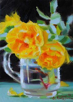 """Daily Paintworks - """"Yellow Roses"""" by Elena Katsyura"""