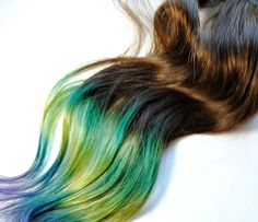 Brown+Hair+with+Blue+Tips+Ombre | Hair Extensions - Dip Dyed Tips / Tie Dyed Clip Ins // Brown Blue ...