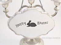 Nostalgieschmiede - Dekoschild Holzschild Happy Easter im Shabby-Stil - Handmade www.nostalgieschmiede.de