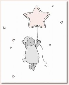 Lamb Nursery Art Prints Pink and Gray by SweetMelodyDesigns
