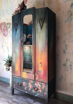 Vintage Furniture SOLD Bold Boho Armoire Storage Cabinet with Hand Painted - Hand Painted Furniture, Distressed Furniture, Funky Furniture, Paint Furniture, Repurposed Furniture, Furniture Makeover, Vintage Furniture, Country Furniture, Furniture Dolly