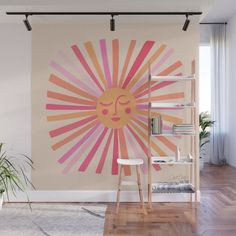 Palette Wall, Retro Color Palette, Removable Wall Murals, Pink Walls, Fabric Panels, Vintage Walls, Home Art, Decor Styles, Vibrant Colors