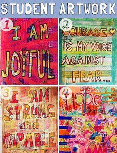 art journal ideas | art journal techniques | art journal pages http://schulmanart.blogspot.com/2016/03/positive-thinking-power.html