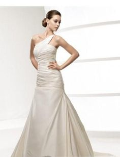 Gorgeous A-Line One-shoulder Sleeveless Beading Taffeta Floor-length Chapel Train Wedding Dress WD-0256