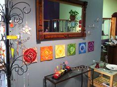 My mini chakra quilts at Corina's shop
