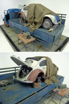 """Mercedes Truck and Volkswagen Beetle"" 1/35 scale. By André Pantarotto.  #model_cars #diorama"