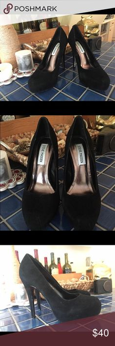 Steve Madden Suede Heels Black Suede, 6.5, worn once! Steve Madden Shoes Heels