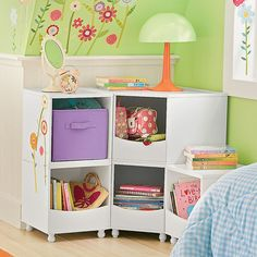 Avery Storage Collection - contemporary - toy storage - by The Company Store Corner Storage, Kid Toy Storage, Cube Storage, Storage Bins, Storage Ideas, Book Storage, Storage Spaces, Kids Storage Furniture, Small Bedroom Furniture