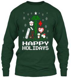 Nurse Supplies Christmas Tree Ugly Christmas style T Shirts. #gift #love #medical