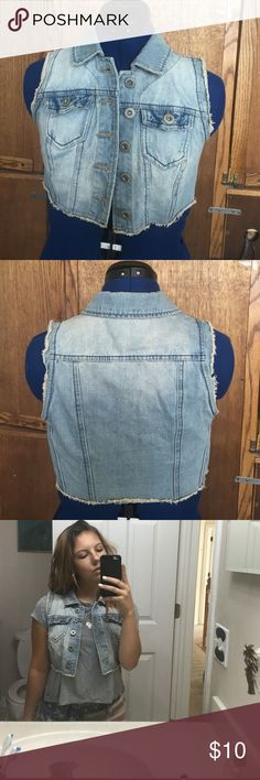 Jean Vest Cropped light wash jean vest, like new condition, 2 usable pockets Highway Jeans Other