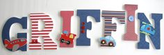 Custom Decorated Wooden Letters CARS TRAINS & PLANES by LetterLuxe, $10.00