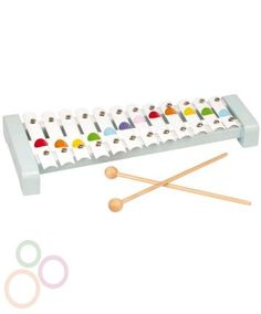5d6dc57494f8 A stylish 12 note metal xylophone with 2 drumsticks in Janod confetti  styling.