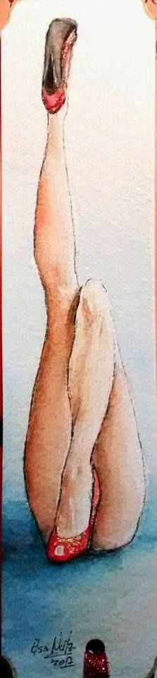 Watercolor illustration legs sexy. Elsa Nutz