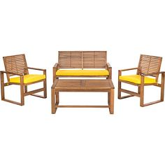 Ozark 4-pc Lounge Seating Set is made of acacia, and features water resistant upholstered polyester detachable cushions. Set includes two chairs (24'' x...